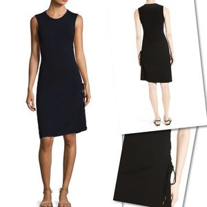 THEORY RIMAEYA BLACK SIDE TIE SLEEVELESS DRESS M